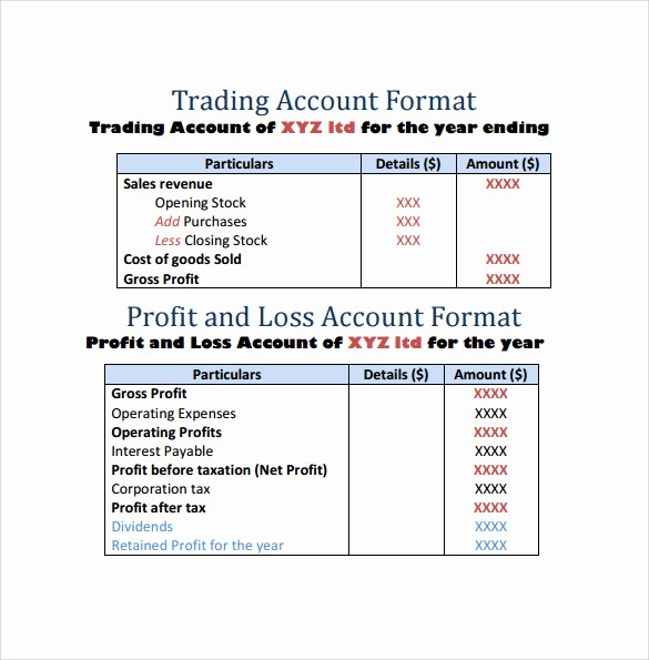 Profit and Loss Account Template Inspirational Profit and Loss Template 20 Download Free Documents In