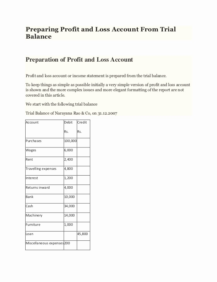 Profit and Loss Account Template New Pany Balance Sheet and Profit and Loss Account format