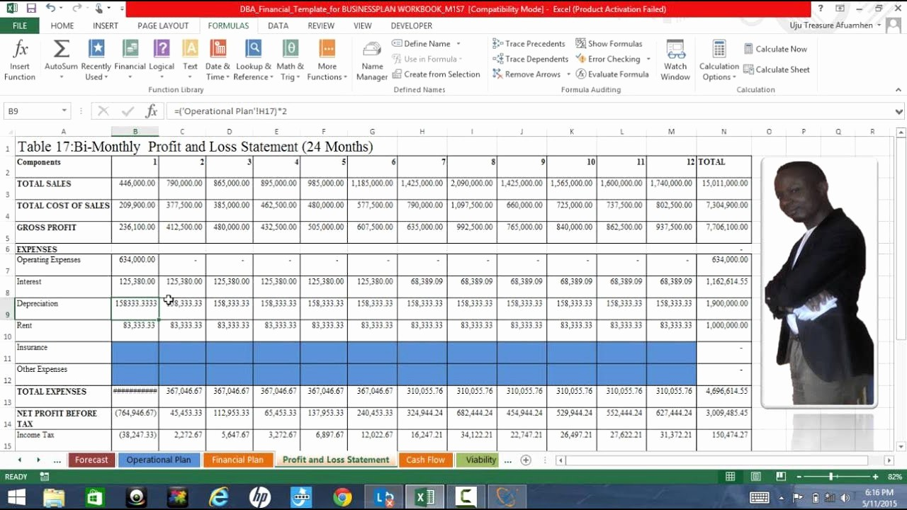 Profit and Loss Excel format Fresh Business Plan Excel Template Explained Profit and Loss