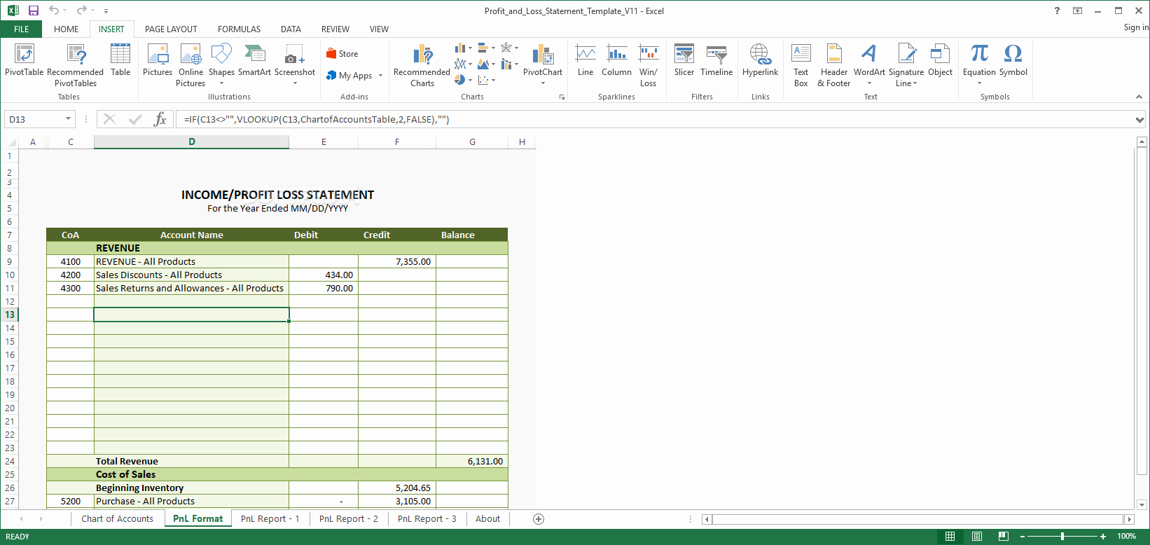 Profit and Loss Excel format Fresh Download Excel Profit and Loss Statement Template 13