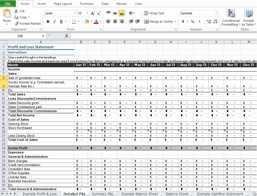 Profit and Loss Excel format Fresh Restaurant Profit and Loss Statement Template Excel
