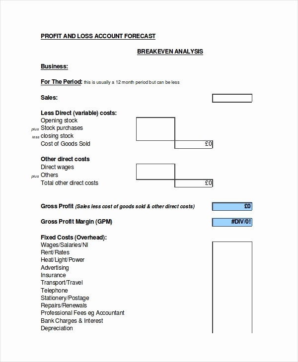 Profit and Loss Excel format Lovely Excel forecast Template 11 Free Excel Documents