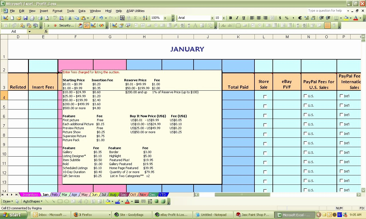 Profit and Loss Excel Spreadsheet Awesome Ebay Profit & Loss Excel Spreadsheet