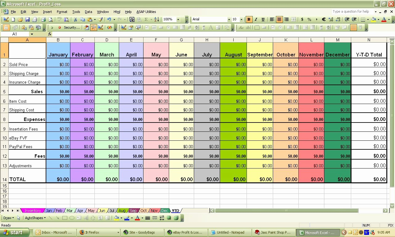 Profit and Loss Excel Spreadsheet New Ebay Profit & Loss Excel Spreadsheet