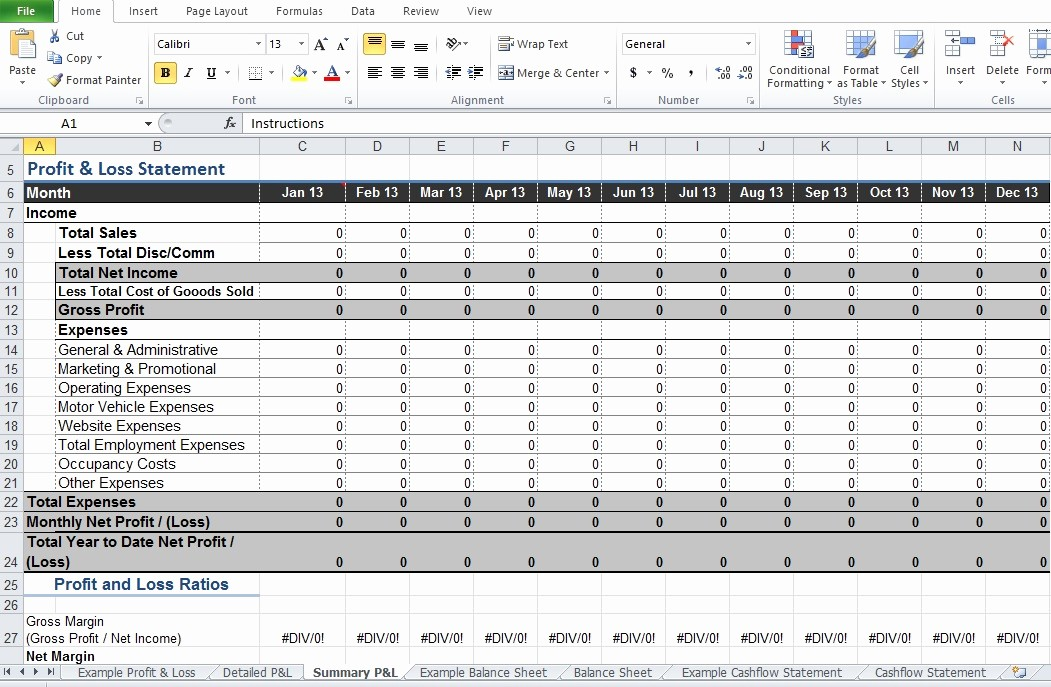 Profit and Loss Excel Spreadsheet Unique Restaurant Profit and Loss Statement Template Excel