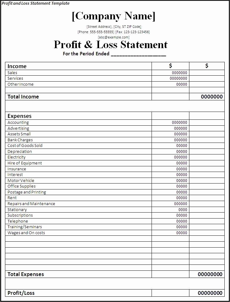 Profit and Loss Free Template Fresh Profit and Loss Statement Template