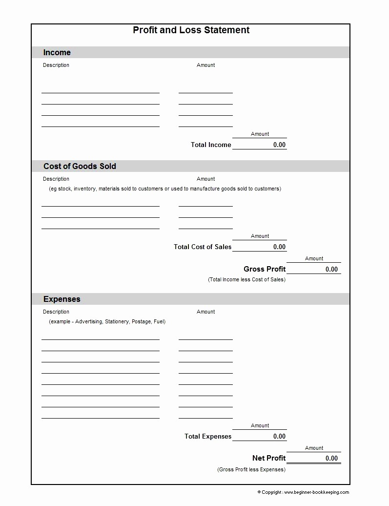 Profit and Loss Report Template Lovely Basic Profit and Loss Statement Template Mughals