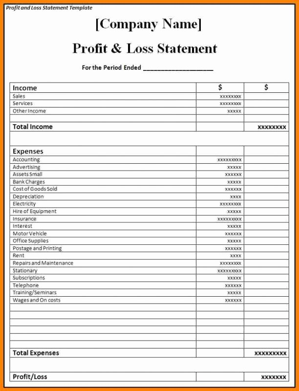 Profit and Loss Report Template Luxury Blank Profit and Loss Statement Pdf