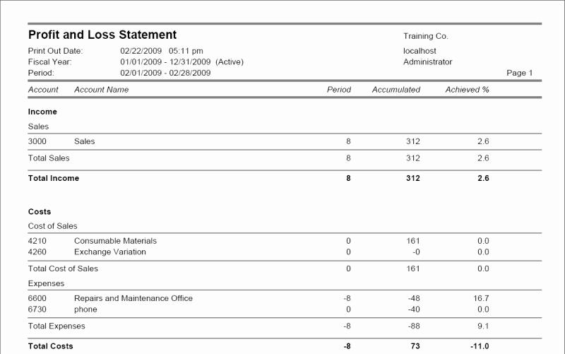 Profit and Loss Sheet Examples Elegant Frontaccounting Screenshots