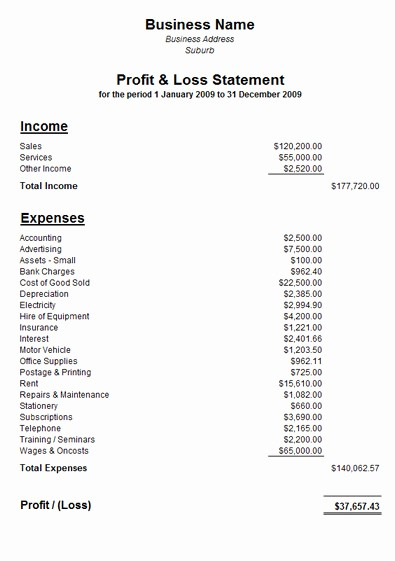 Profit and Loss Sheet Examples New Free Sample Profit and Loss Statement Template
