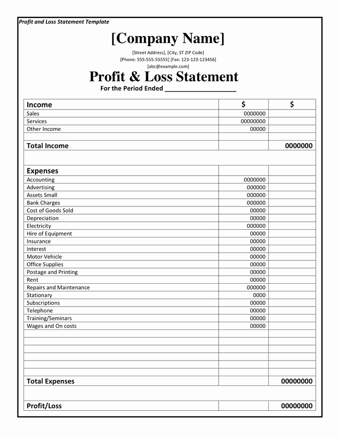 Profit and Loss Sheet Template Unique Profit and Loss Statement Template