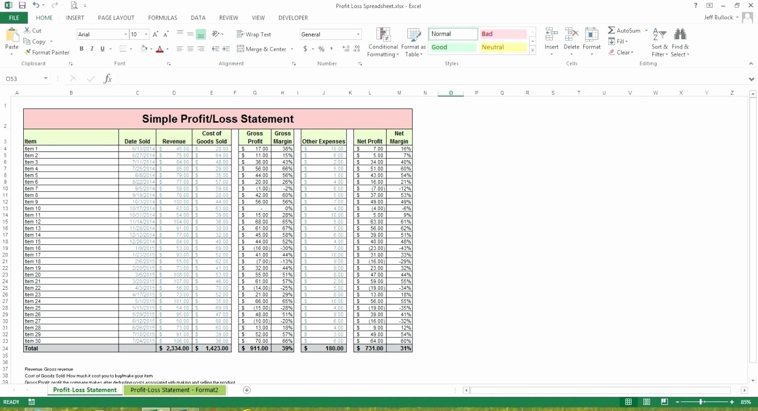 Profit and Loss Spreadsheet Example Best Of Profit and Loss Spreadsheet Template