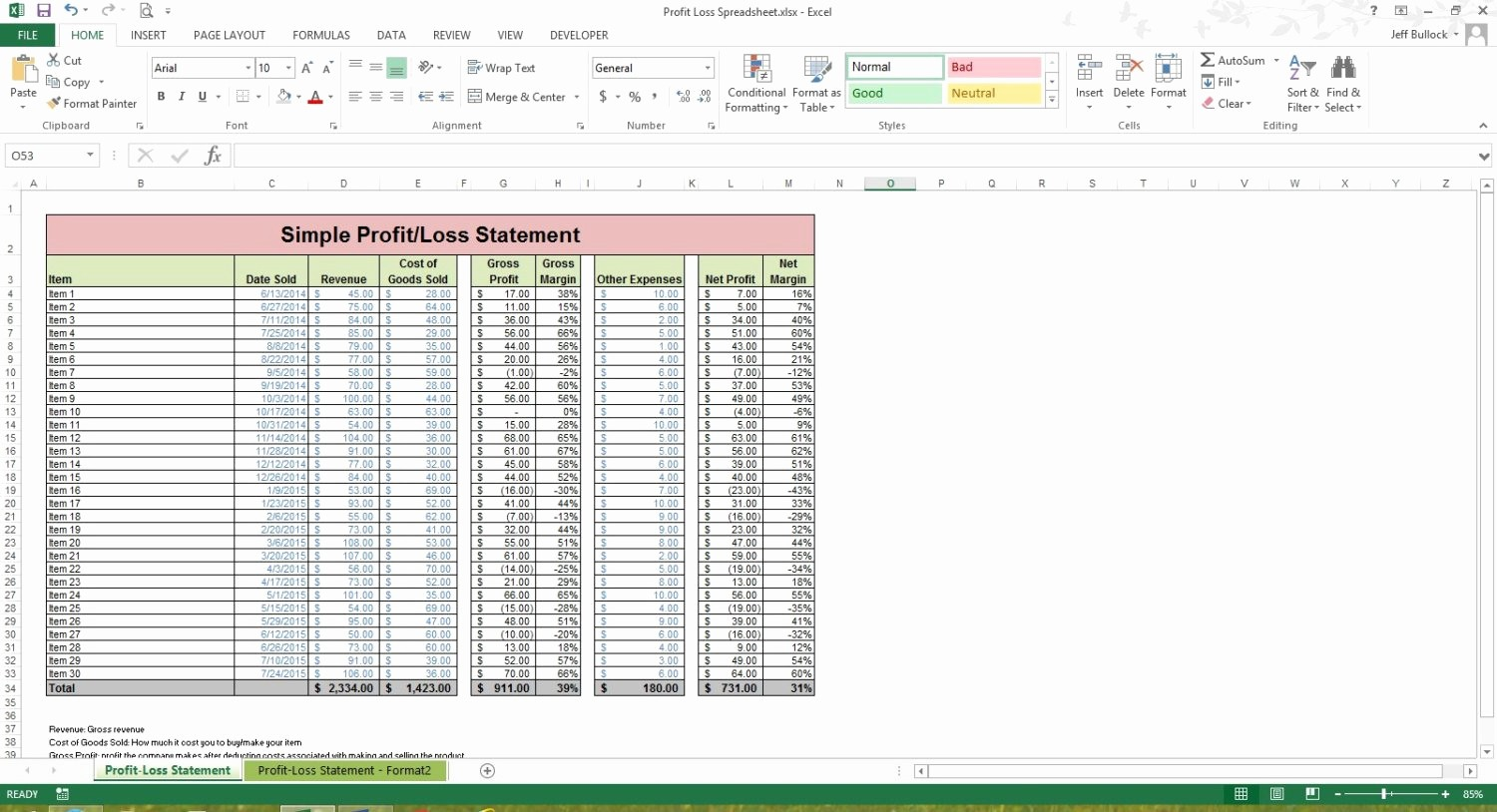 Profit and Loss Spreadsheet Example Fresh Profit Loss Statement Excel Spreadsheet Template Microsoft