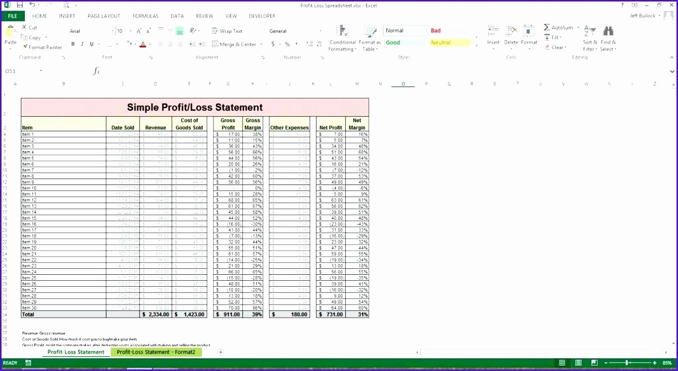 Profit and Loss Spreadsheet Example Inspirational Template Blank Profit and Loss Template