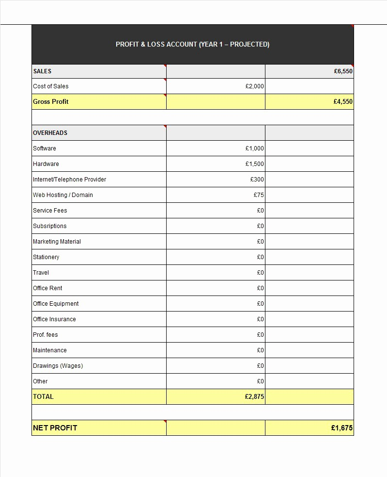 Profit and Loss Spreadsheet Example Lovely 35 Profit and Loss Statement Templates & forms