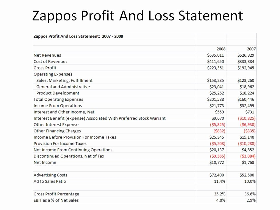 Profit and Loss Statements Examples Awesome Kevin Hillstrom Minethatdata Zappos Profit and Loss