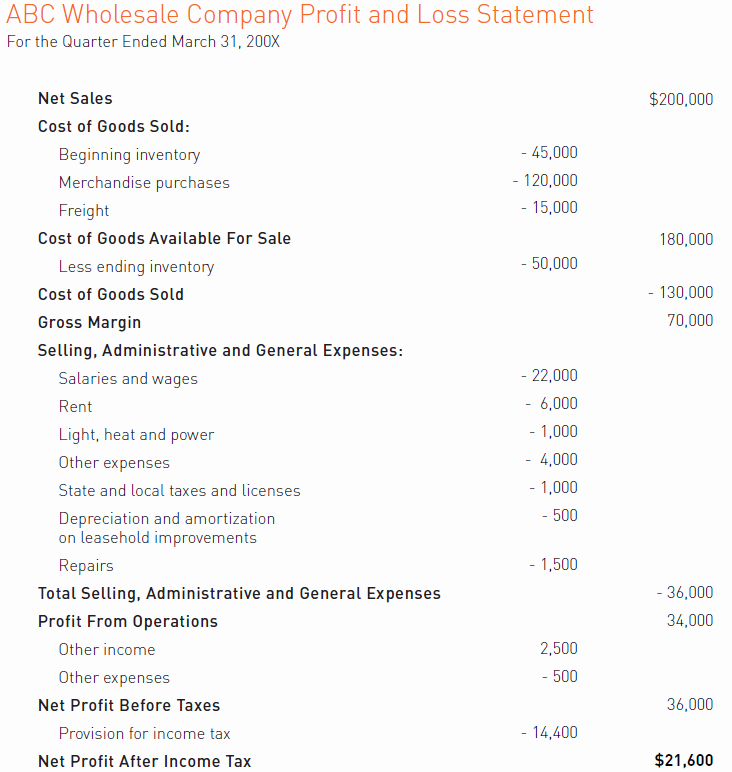 Profit and Loss Statements Examples Elegant Accounting Made Easy Sample A Profit and Loss Statement