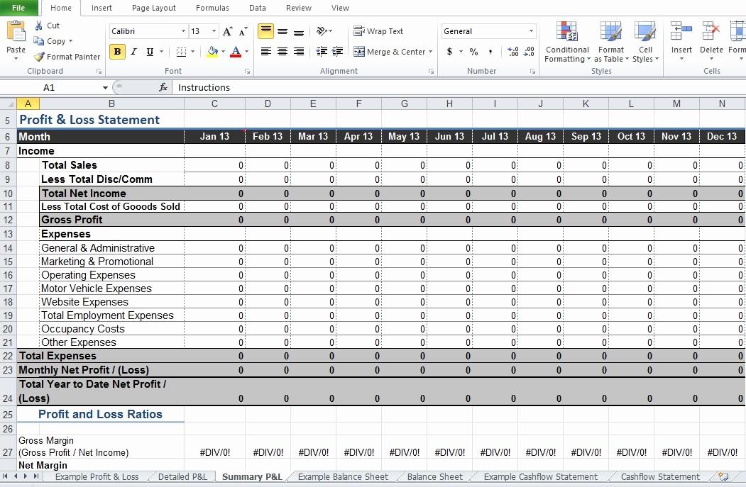 Profit and Loss Statements Template Beautiful Restaurant Profit and Loss Statement Template Excel
