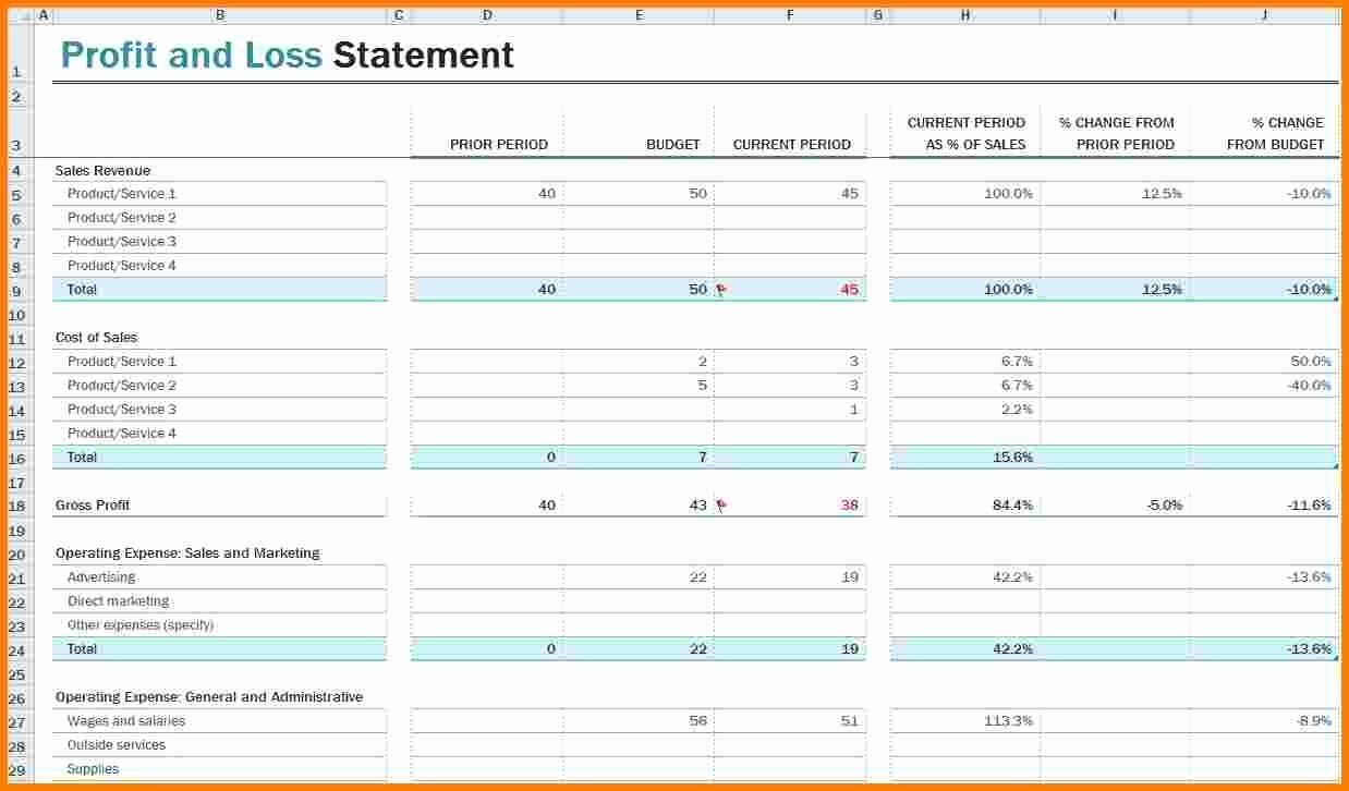 Profit and Loss Statements Template Elegant 8 Profit Loss Statement Template