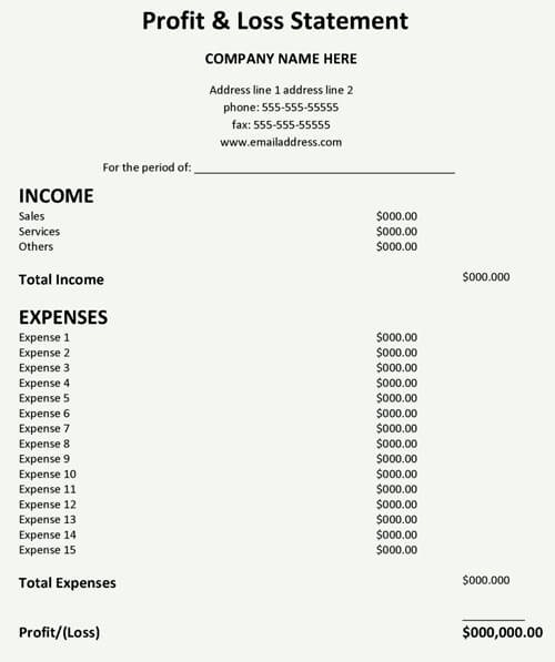 Profit and Loss Statements Template Luxury Profit and Loss Statement Template