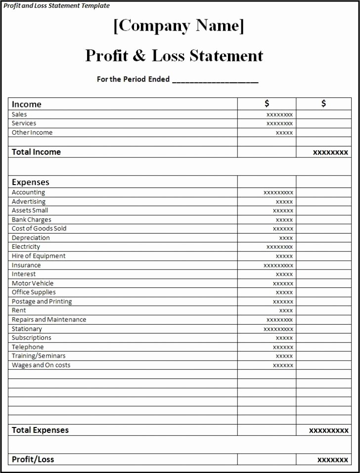 Profit and Loss Statements Template New Profit and Loss Statement Template Excel