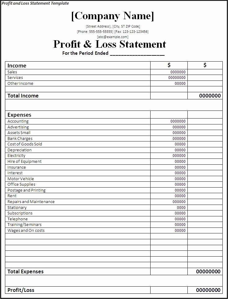 Profit Loss Statement Excel Template Fresh Profit and Loss Statement is One Of the Financial