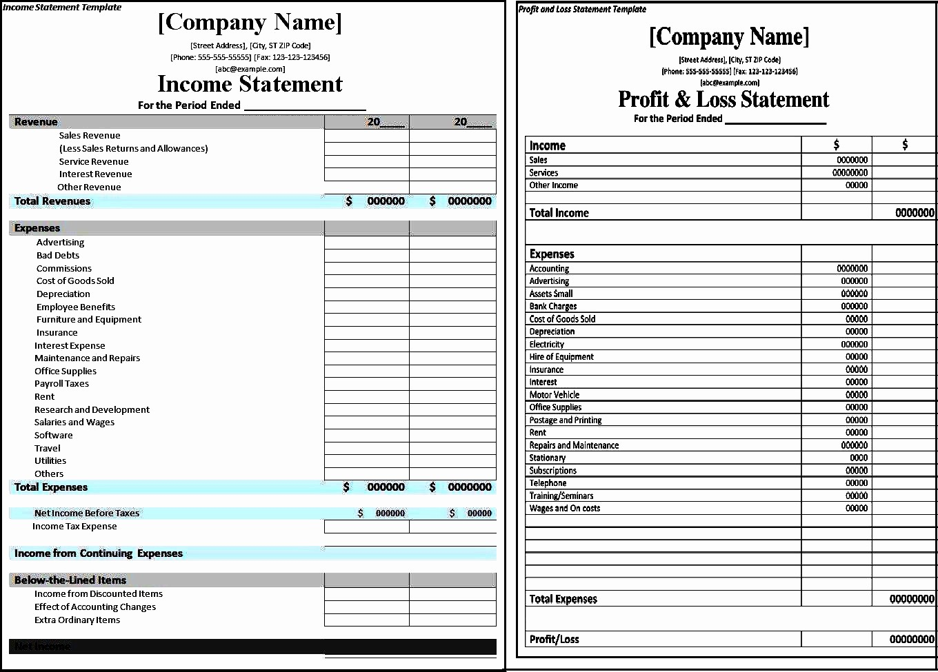 Profit Loss Statement Excel Template Fresh Profit and Loss Statement Template Excel