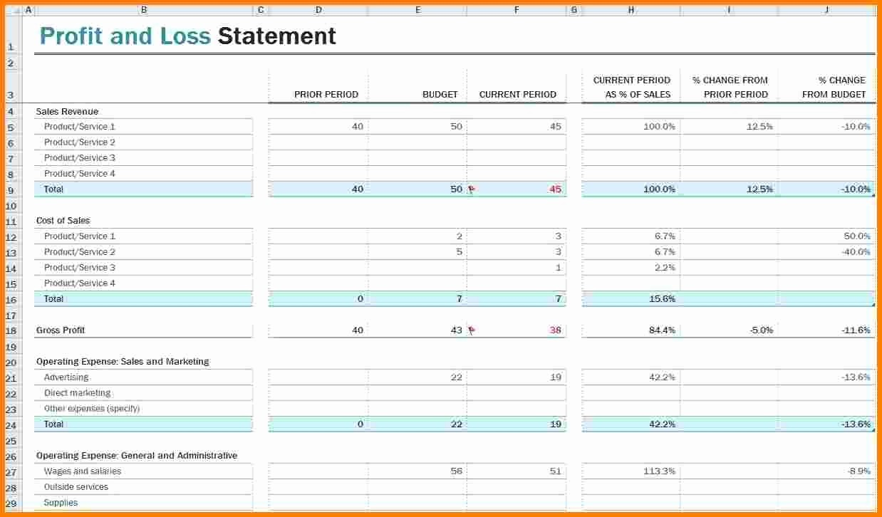 Profit Loss Statement Template Excel Lovely Profit and Loss Statement Template