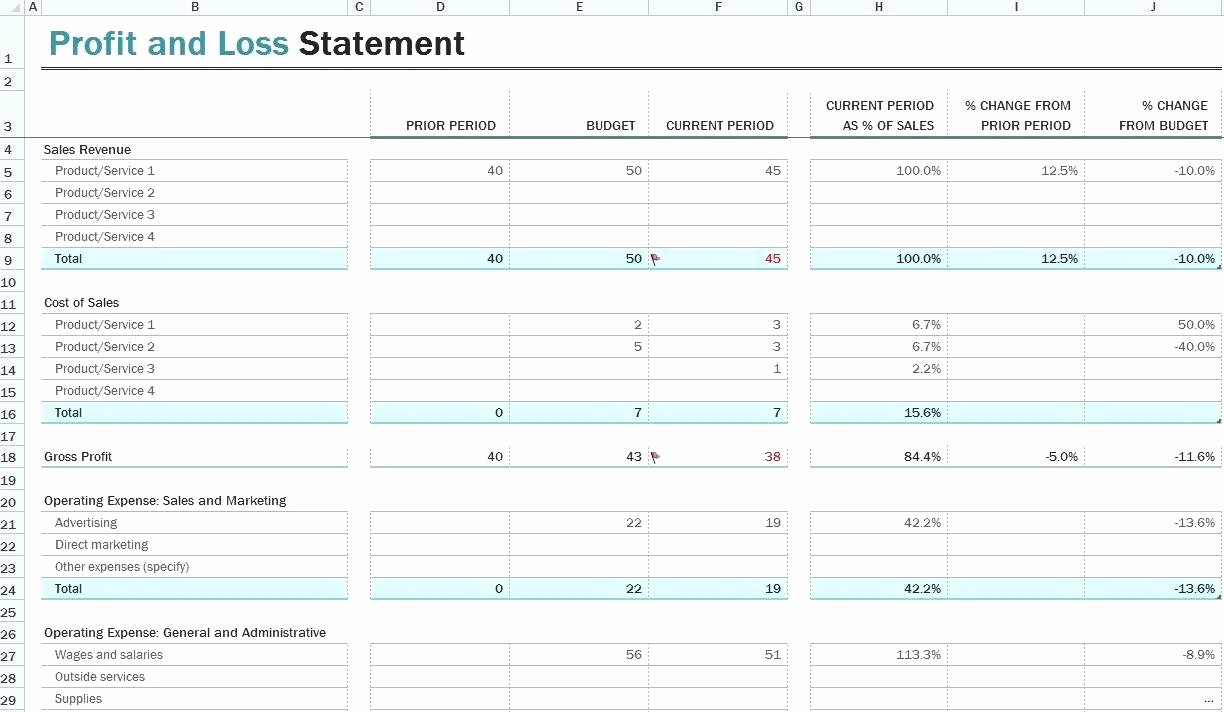 Profit Loss Statement Template Excel Luxury Template Simple Pl Excel Template