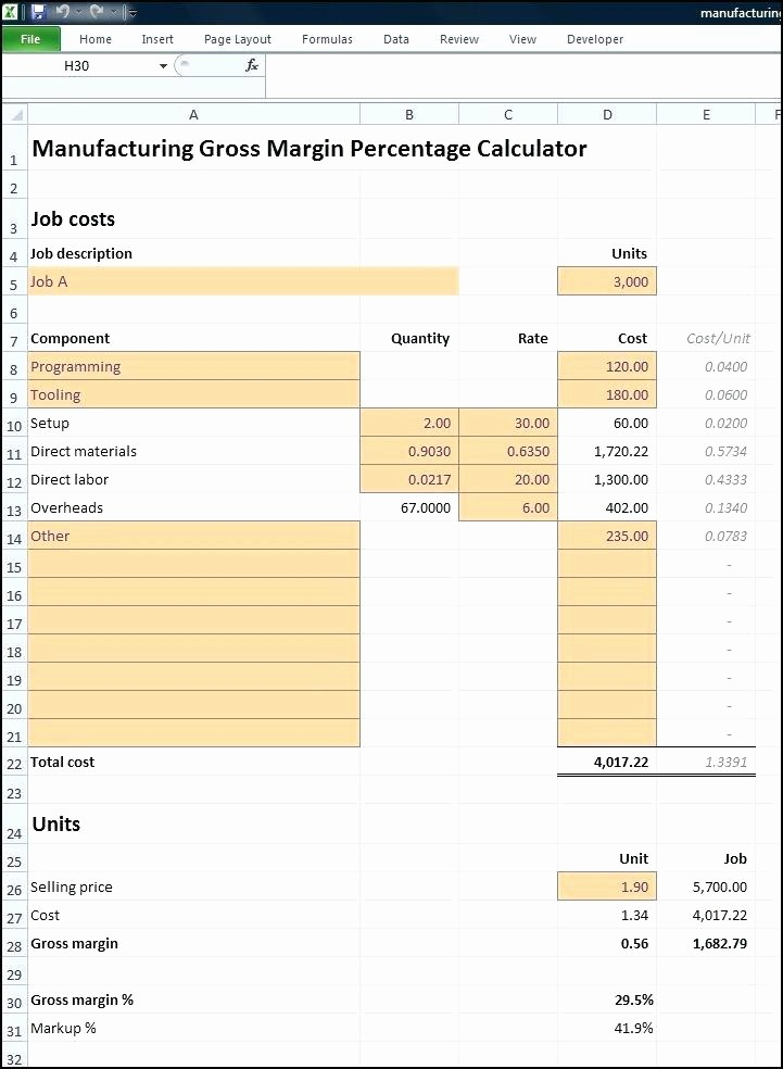 Profit Margin Excel Spreadsheet Template Best Of Gross Margin Calculator Excel Gross Profit formula Excel