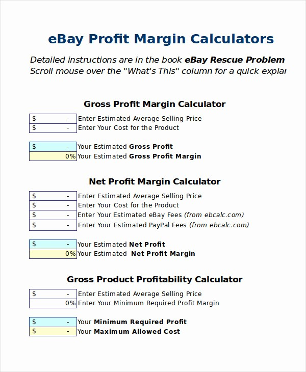 Profit Margin Excel Spreadsheet Template Elegant Excel Calculator Template 6 Free Excel Documents