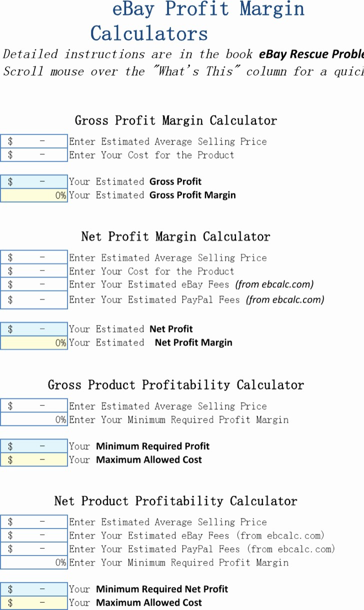 Profit Margin Excel Spreadsheet Template Unique 7 Excel Calculator Templates Free Download