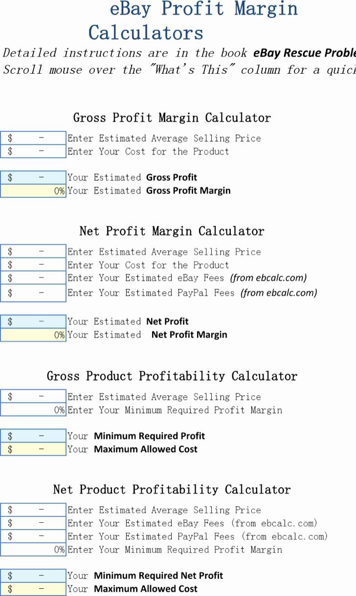 Profit Margin Excel Spreadsheet Template Unique 7 Excel Calculator Templates Free Download
