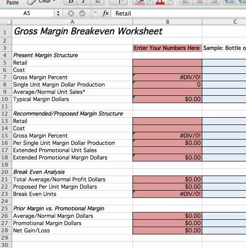 Profit Margin Excel Spreadsheet Template Unique Truckstop Gross Margin Breakeven Worksheet Natso