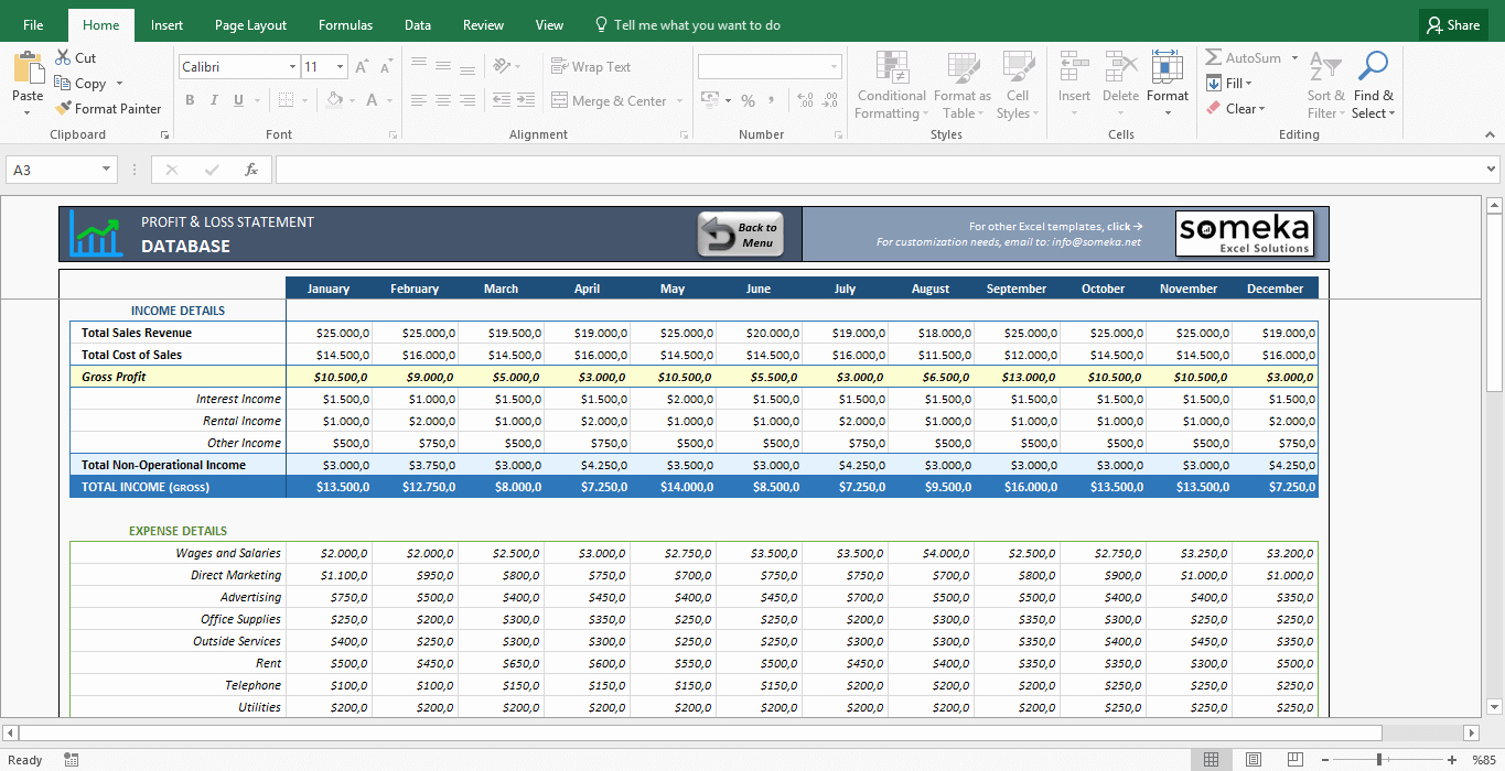 Profits and Loss Statement Template Awesome Profit and Loss Statement Template Free Excel Spreadsheet