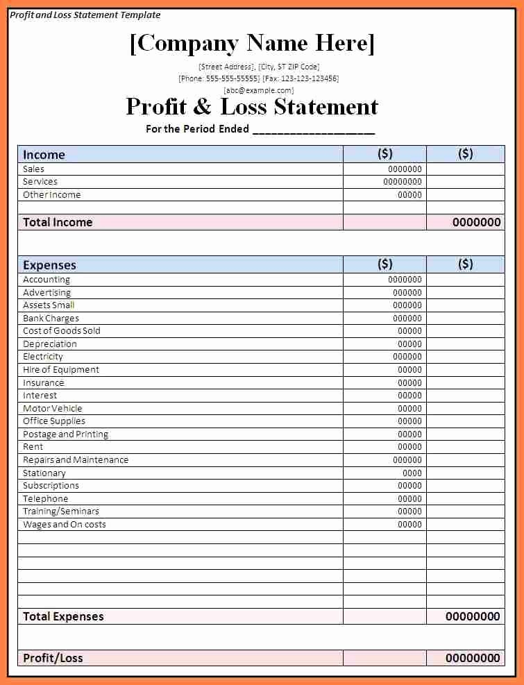 Profits and Loss Statement Template Best Of 5 Pany Profit and Loss Statement Template