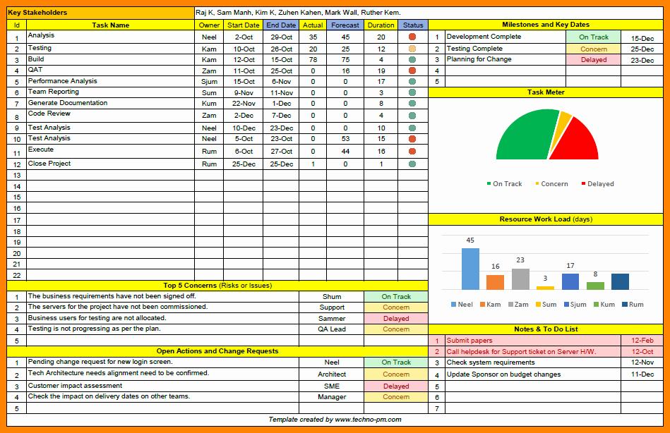 Program Management Status Report Template Elegant 7 Project Management Status Report Template