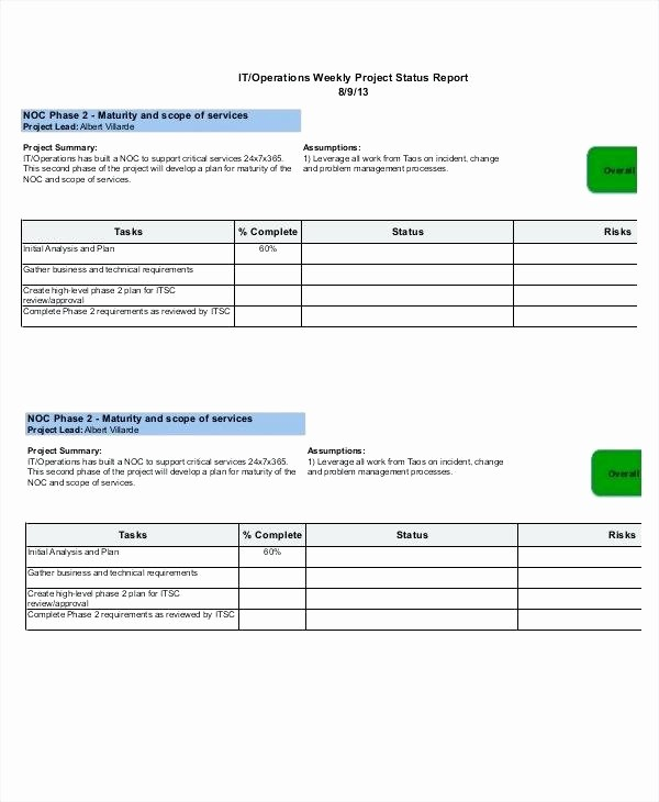 Program Management Status Report Template Elegant Program Management Status Report Template Project