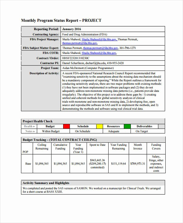 Program Management Status Report Template New 37 Monthly Report Templates In Pdf