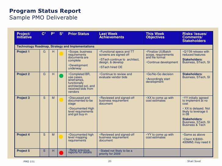 Program Management Status Report Template New Project Status Report format Excel Free Construction