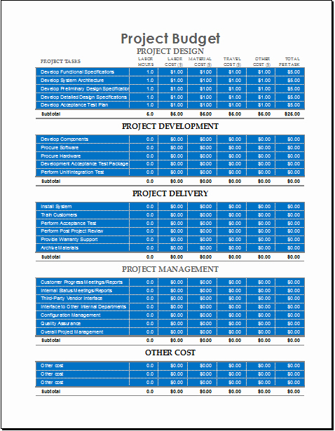 Project Budget Template Excel Free New Project Bud Template for Excel