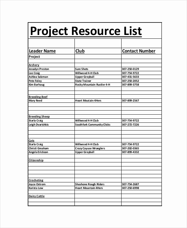 Project Contact List Template Excel Awesome 8 Project List Templates Free Sample Example format