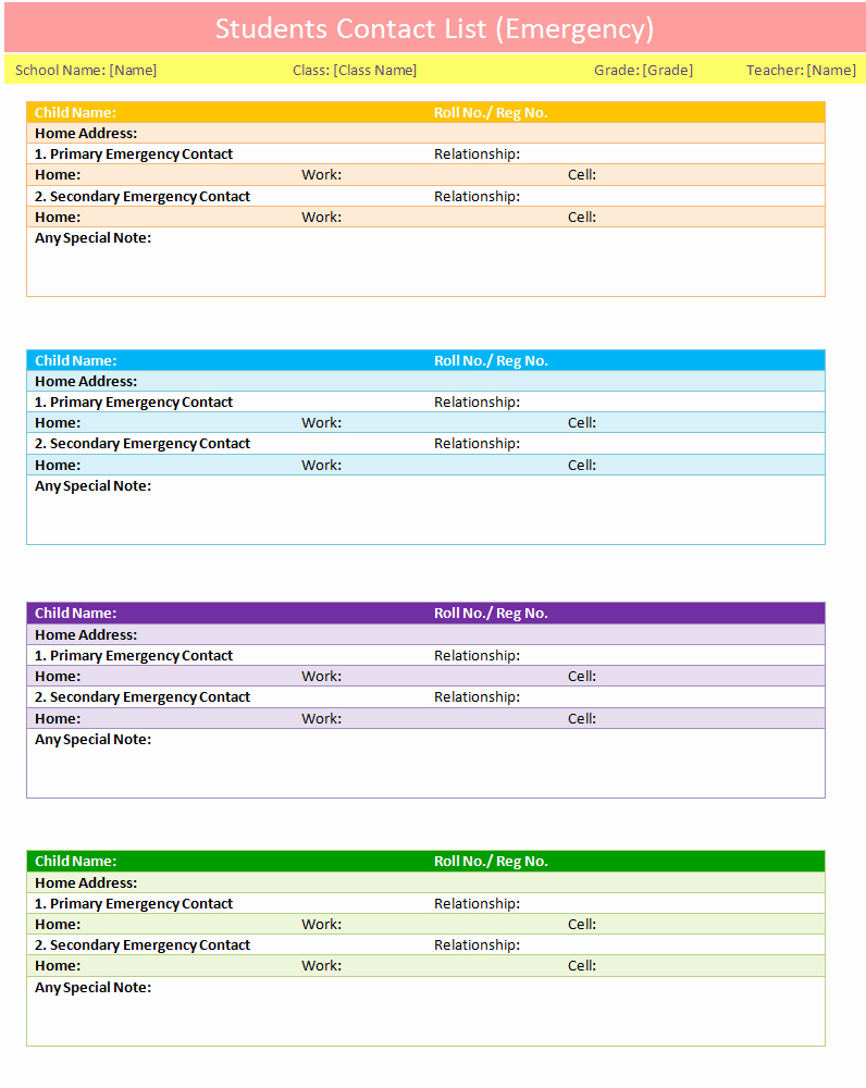 Project Contact List Template Excel Awesome Students Contact List Template Emergency Dotxes