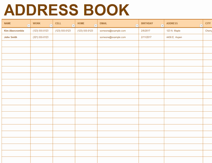 Project Contact List Template Excel Fresh Address Book