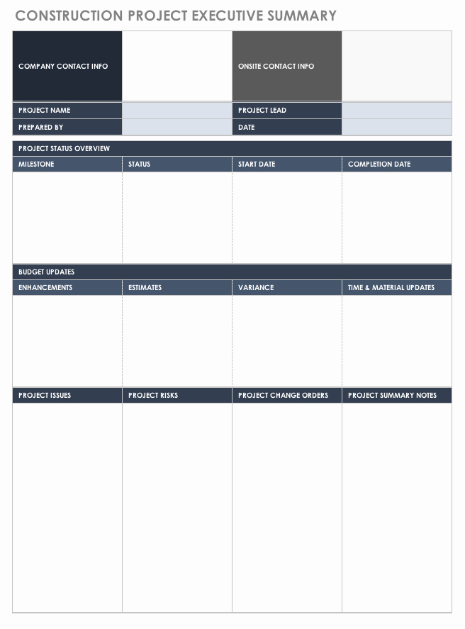 Project Executive Summary Template Word Elegant Free Executive Summary Templates