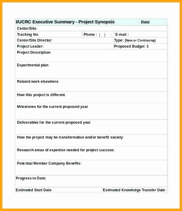 Project Executive Summary Template Word Fresh Project Management Executive Summary Template