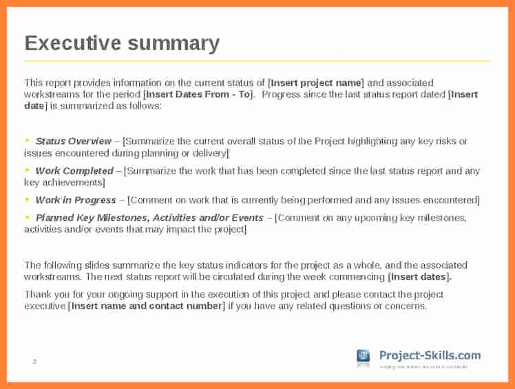 Project Executive Summary Template Word New 7 Executive Summary Report Example Template
