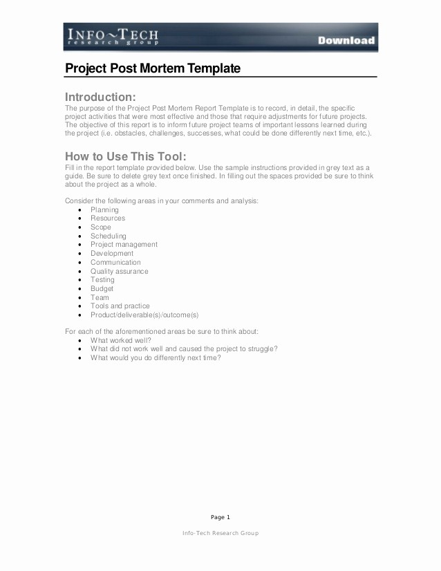 Project Management Post Mortem Template New Post Mortem Report