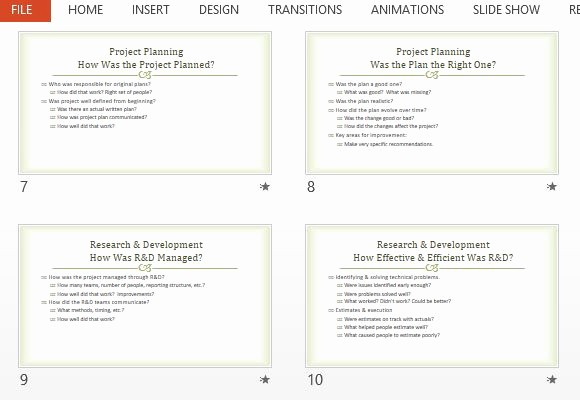 Project Management Post Mortem Template New Project Post Mortem Presentation Template for Powerpoint