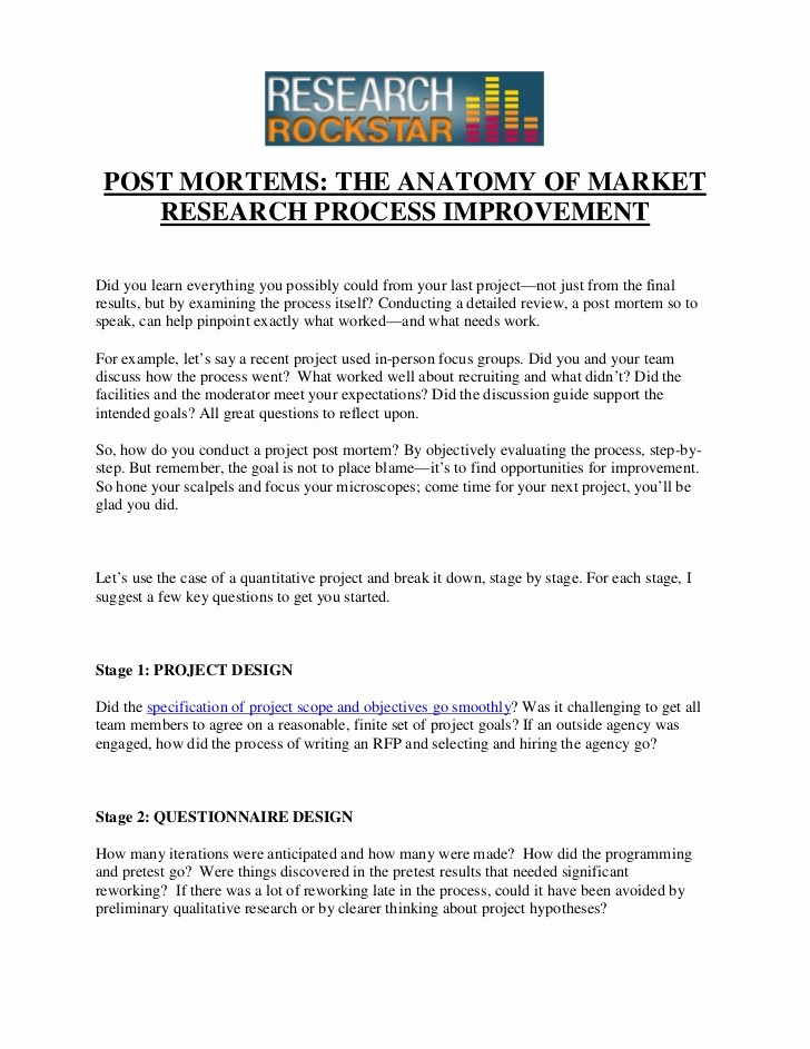 Project Management Post Mortem Template Unique Post Mortems the Anatomy Of Market Research Process